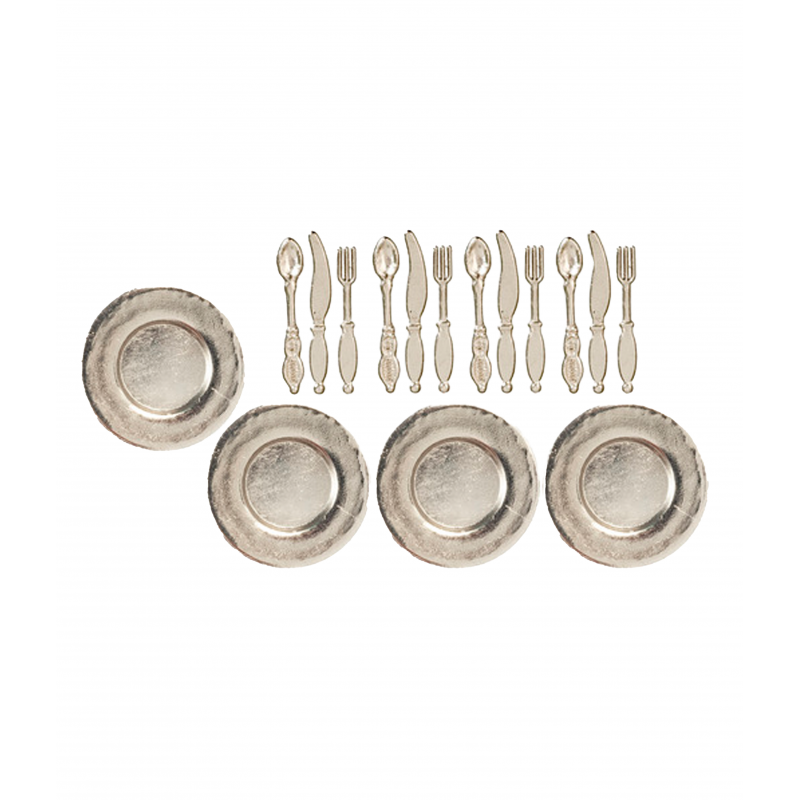 Dolls House 4 Place Setting Silverware Dishes & Cutlery 1:12 Dining Accessory