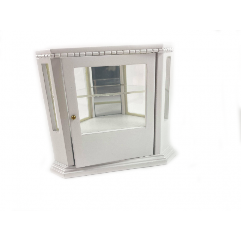 Dolls House White Corner Display Counter 1:12 Shop Furniture Store Fittings