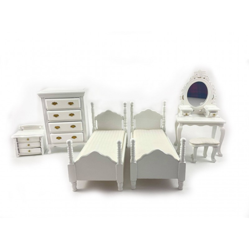 Dolls House White Bedroom Furniture Set Miniature with Twin Single Beds 1:12