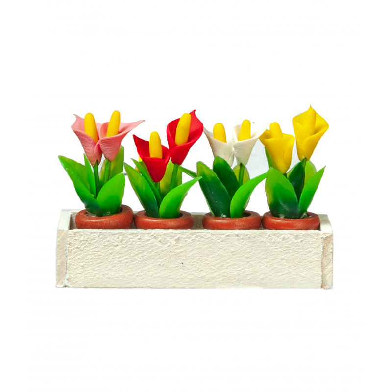 Dolls House White Window Box with 4 Pots of Lilies Miniature Garden Accessory