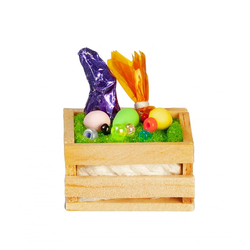 Dolls House Easter Crate with Chocolate Bunny Miniature Nursery Accessory 1:12