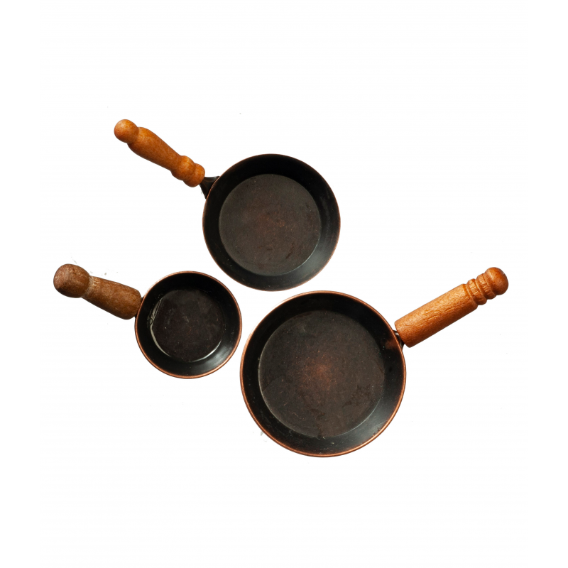 Dolls House Set of 3 Copper Frying Pans Miniature Kitchen Cooking Accessory 1:12