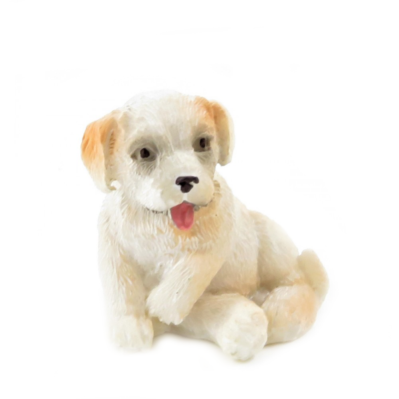Dolls House Champagne Puppy Sitting Pet Small Dog Miniature 1:12 Accessory
