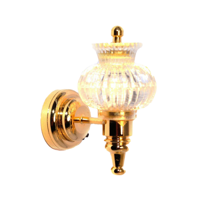 Dolls House Wall Light Clear Patterned Shade Brass LED Lighting Battery Lamp