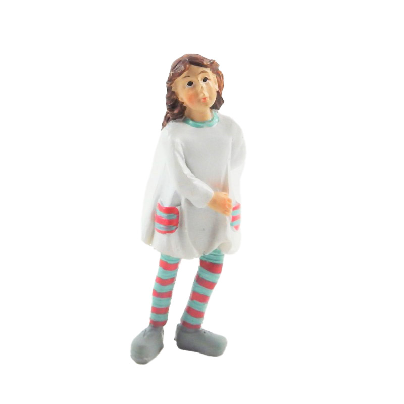 Dolls House People Modern Little Girl in Striped Tights Resin Figure