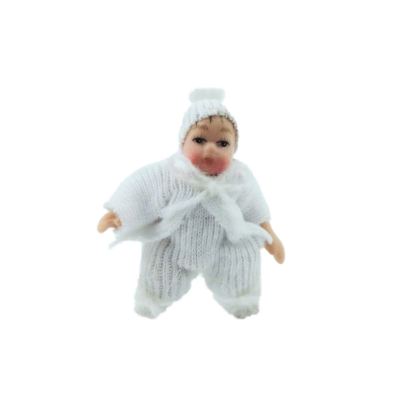 Dolls House Baby in White Suit & Hat Miniature 1:12 Porcelain People