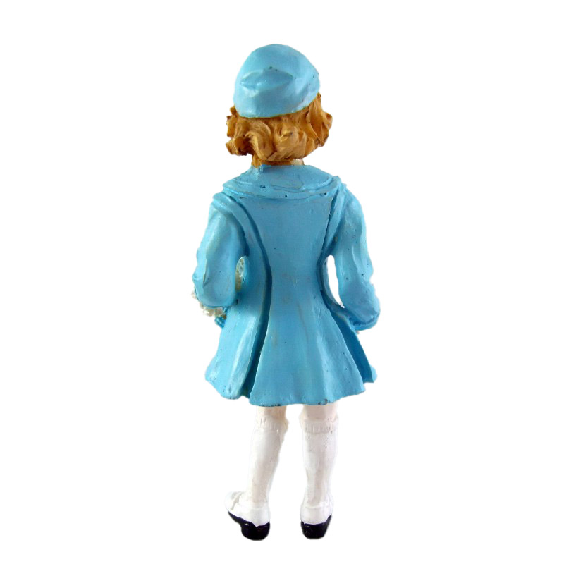 Dolls House 1950's Girl in Hat Coat & Muff Miniature Resin People 1:12 Scale
