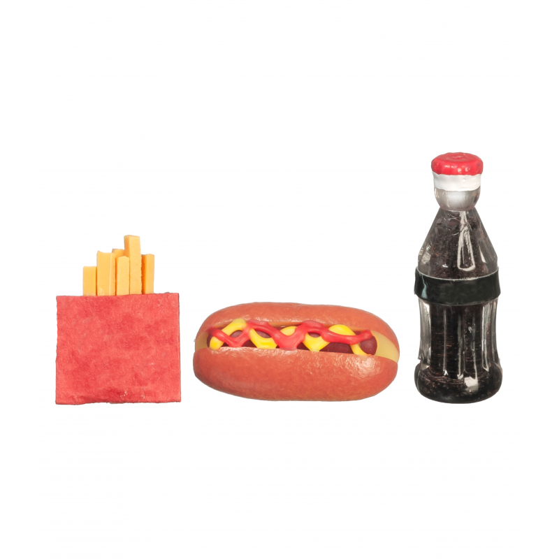 Dolls House Hot Dog Fries & Drink Fast Food Take Away Miniature Food Accessory