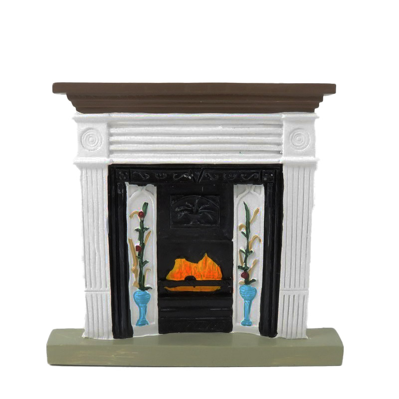 Dolls House Small Victorian Fireplace Flower in Vase Design 1:12 Resin Furniture