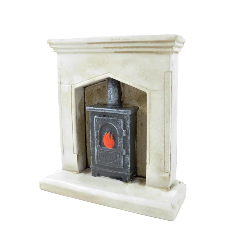 Dolls House White Shabby Chic Fireplace with Wood Burner 1:12 Resin Furniture