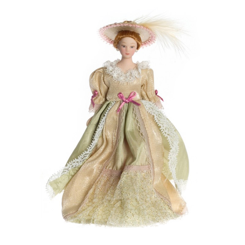 Dolls House Victorian Lady in Beige Gown Miniature People 1:12 Scale