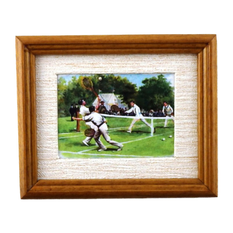 Melody Jane Dolls House Mens Tennis Painting in Walnut Frame Miniature Accessory