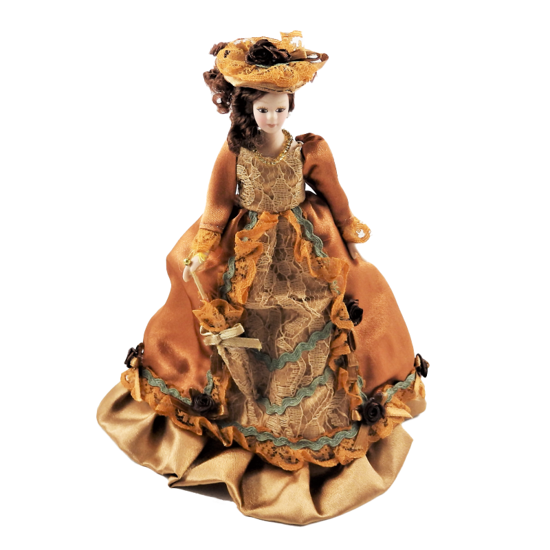 Dolls House Victorian Lady in Rust Outfit Porcelain 1:12 People