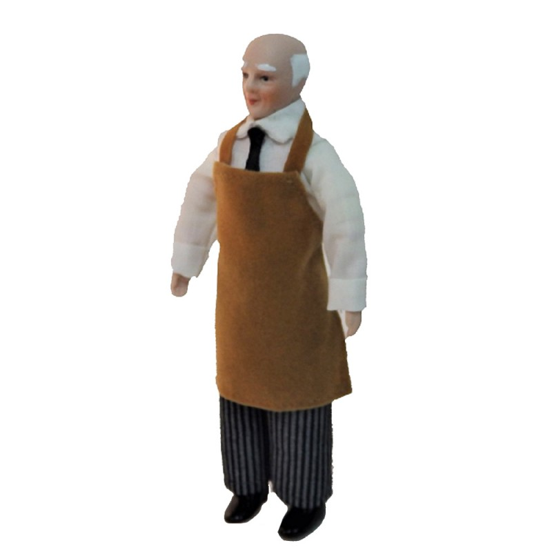Dolls House Working Man in Apron 1:12 Miniature Porcelain People