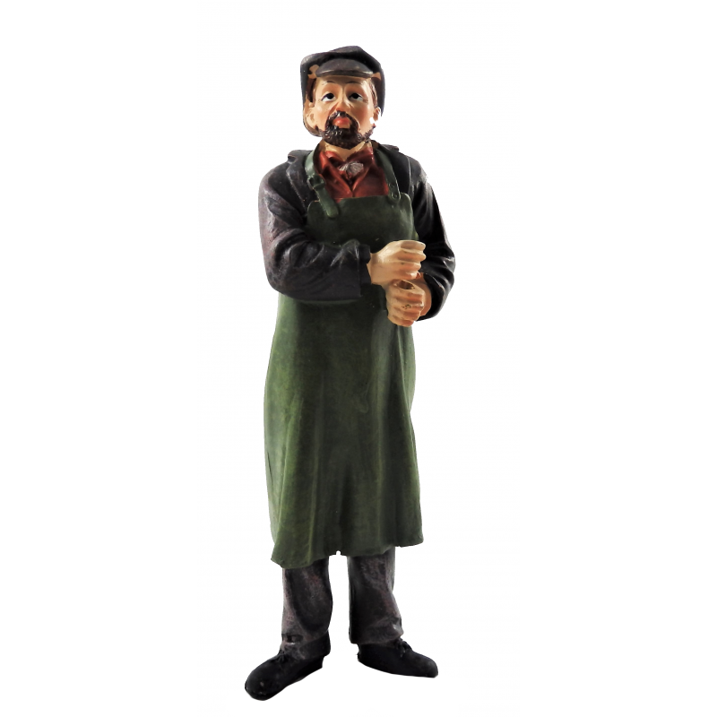 Dolls House People Old Fashioned Work Man in Apron Cap Resin Figure