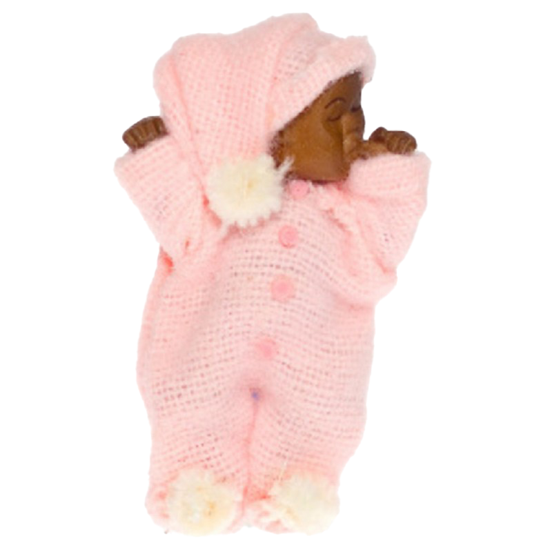 Dolls House Sleeping Baby in Pink Falcon Miniature Doll 1:12 Scale People