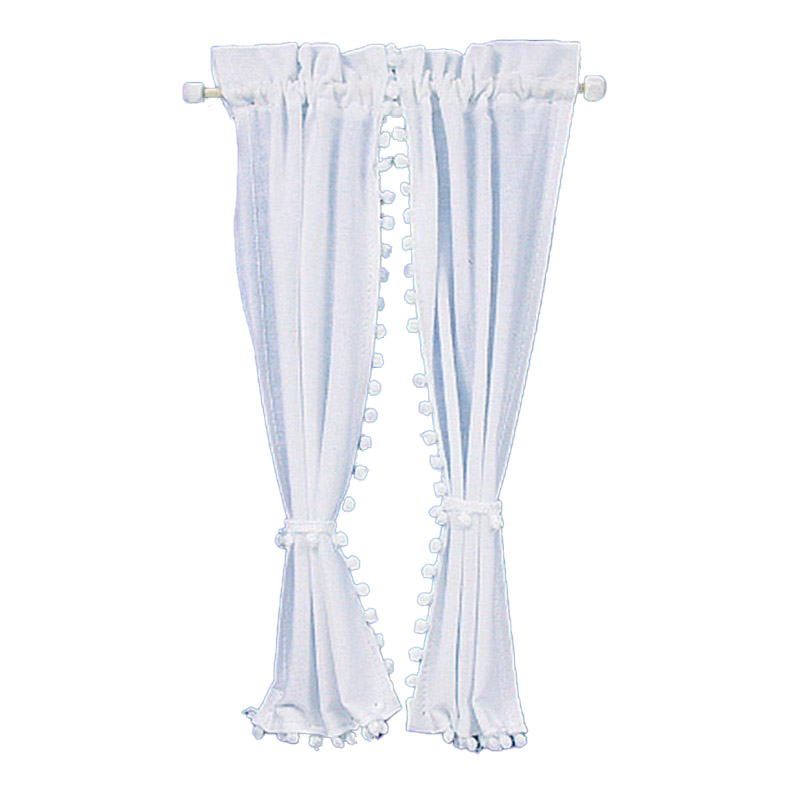 Dolls House White Curtains on Rail Miniature 1:12 Scale Window Accessory