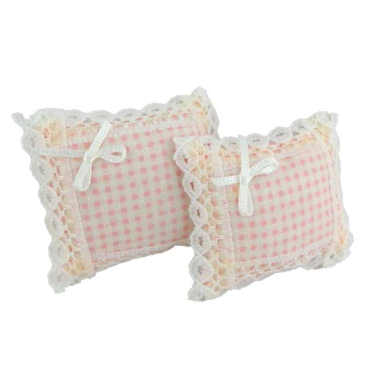 Dolls House Lace trimmed Pink Gingham Cushions Miniature 1:12 Scale Accessory
