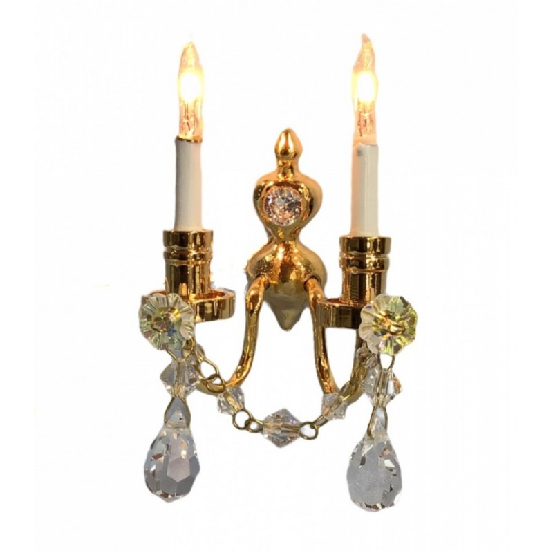 Dolls House Real Crystal Double Candle Wall Sconce Gold Lamp 12V Electric Light