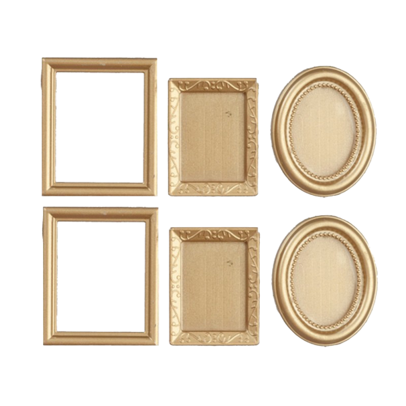 Dolls House 6 Empty Gold Picture Painting Frames Miniature Accessory