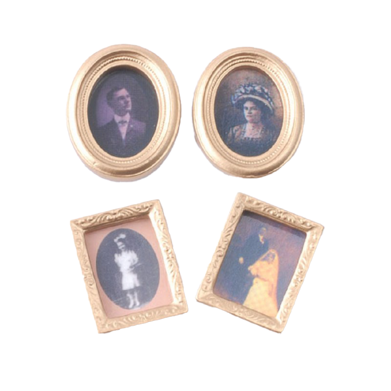 Dolls House 4 Victorian Portrait Pictures Paintings in Miniature Gold Frames