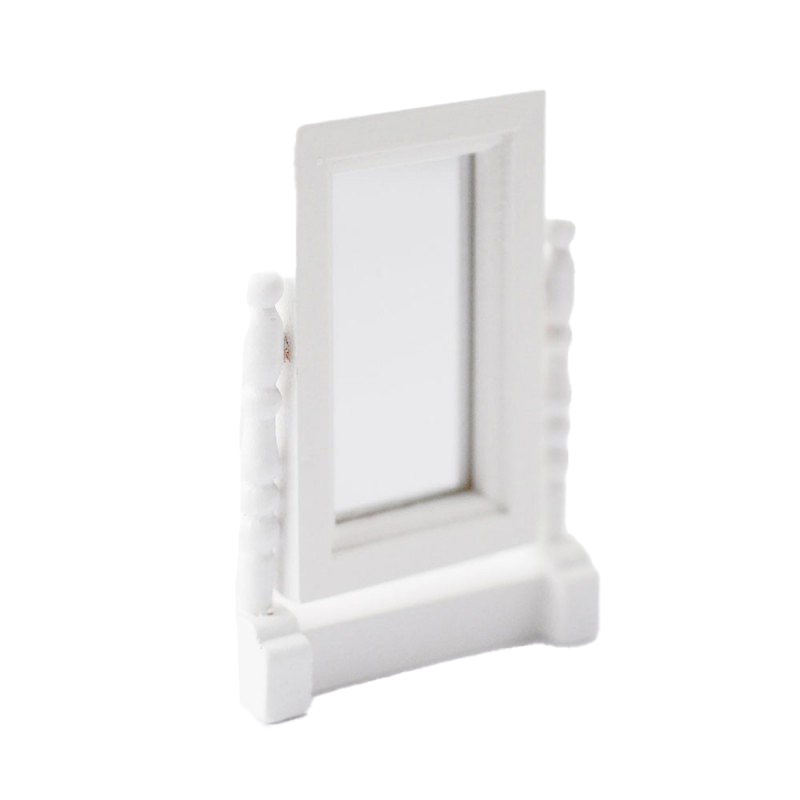 Dolls House White Swivel Dressing Table Mirror Miniature Bedroom Accessory 1:12