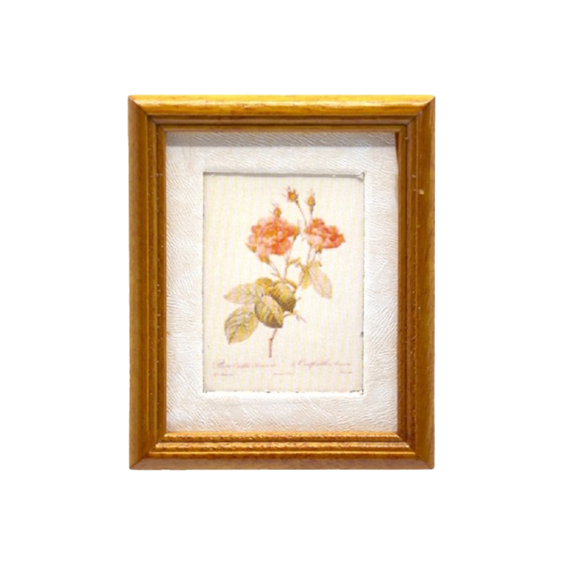 Dolls House Wild Rose Flower Picture Painting Walnut Frame Miniature Accessory
