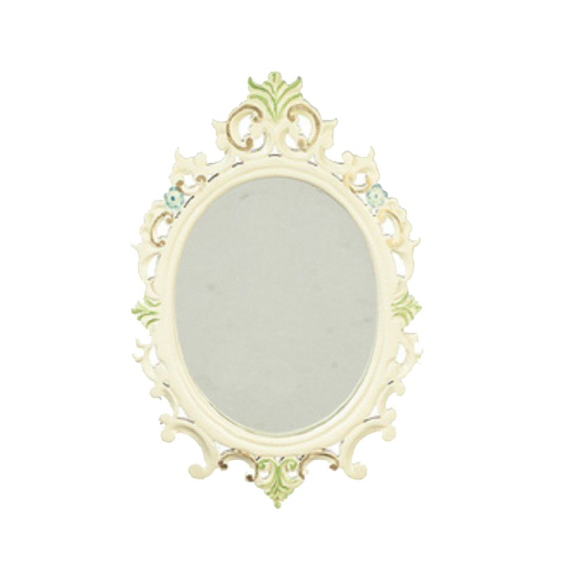 Dolls House Hand Painted White Framed Oval Wall Mirror JBM Miniature Accessory