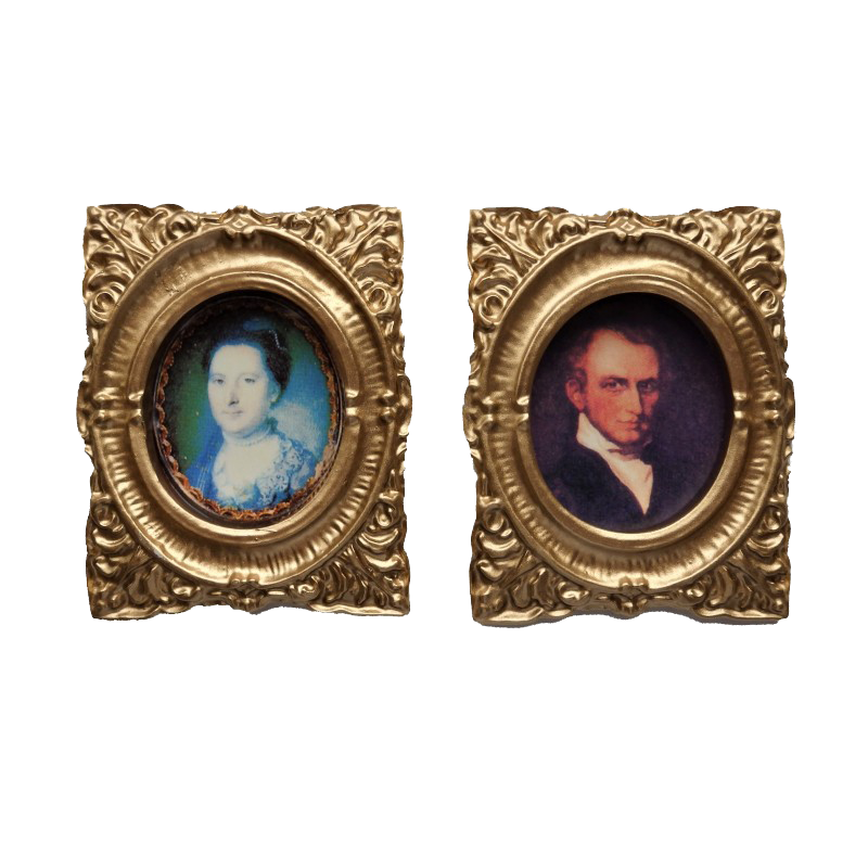 Dolls House 2 Victorian Portrait Pictures Paintings in Gold Frames