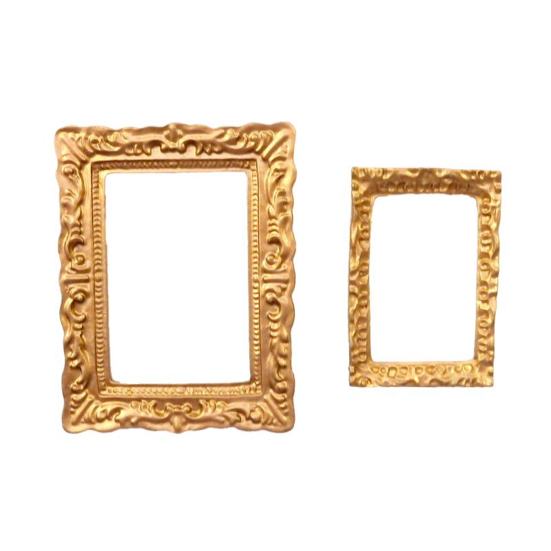 Dolls House 2 Empty Gold Picture Painting Frames Rectangular Miniature Accessory
