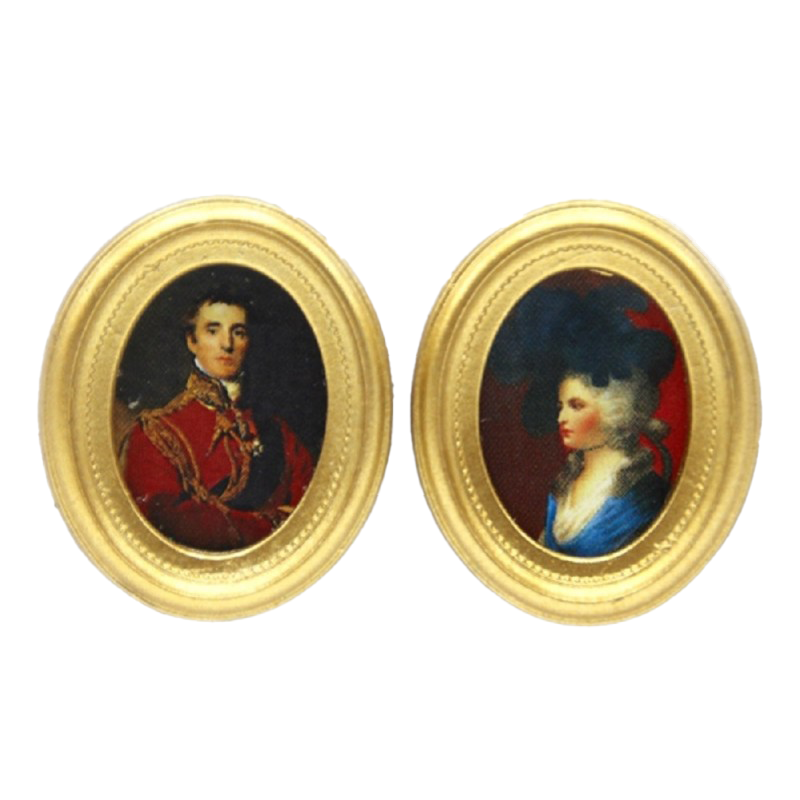 Dolls House 2 Georgian Portrait Paintings in Gold Frames Miniature Accessory