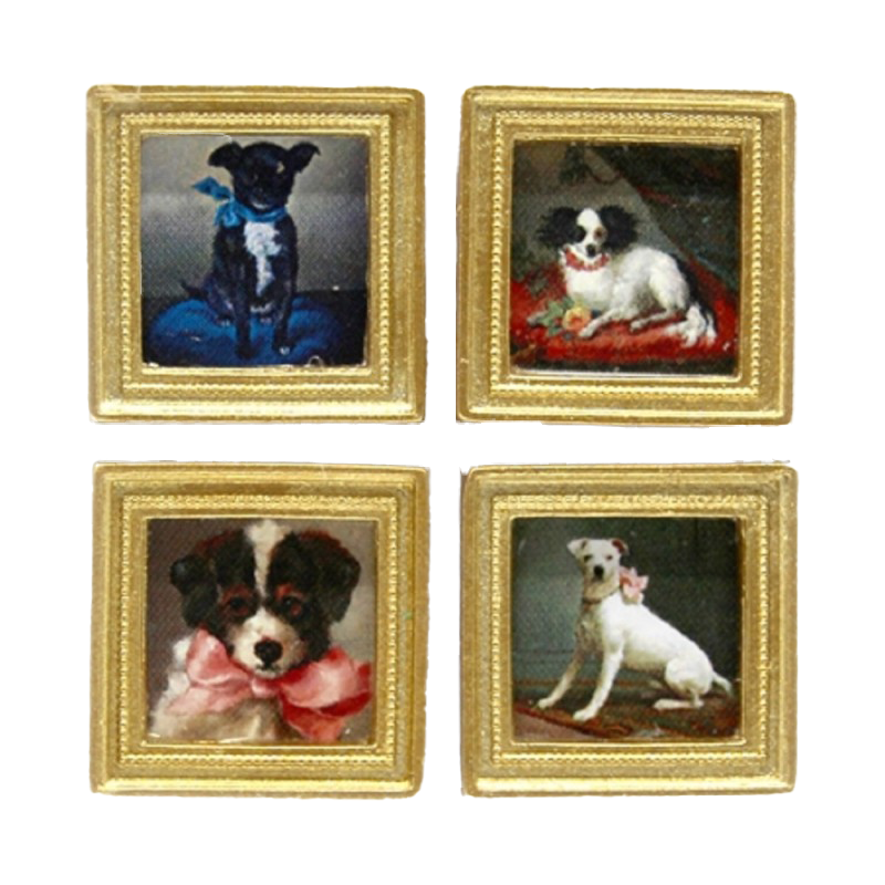 Dolls House 4 19th Century Dog Pictures Paintings Gold Frame Miniature Accessory
