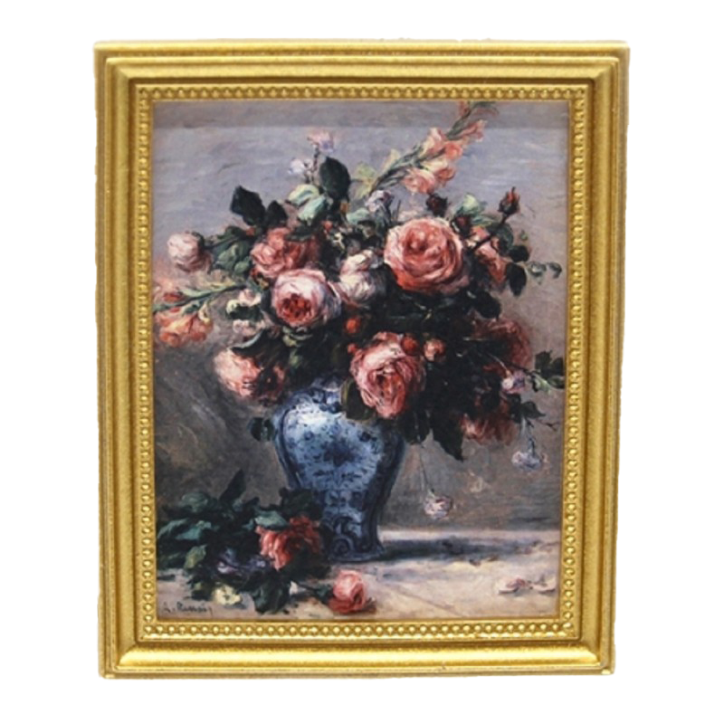 Dolls House Renoir Flowers Painting Picture Gold Frame Miniature Accessory 1:12