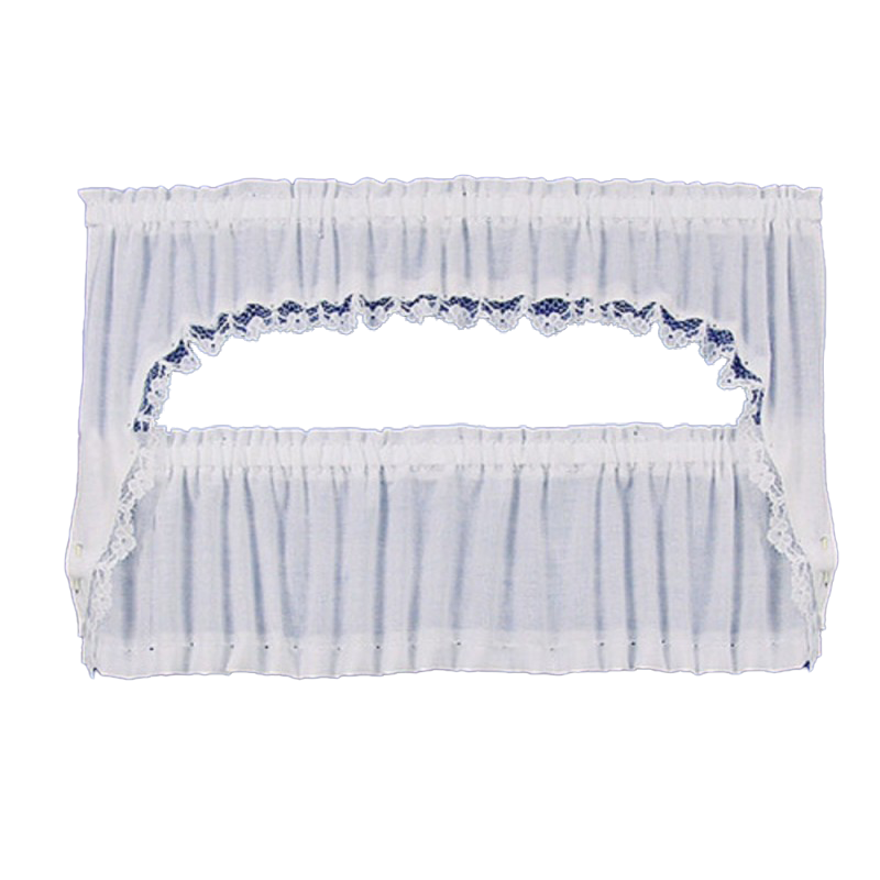 Dolls House White Picture Window Cape Curtain Set on Rails Window Accessory