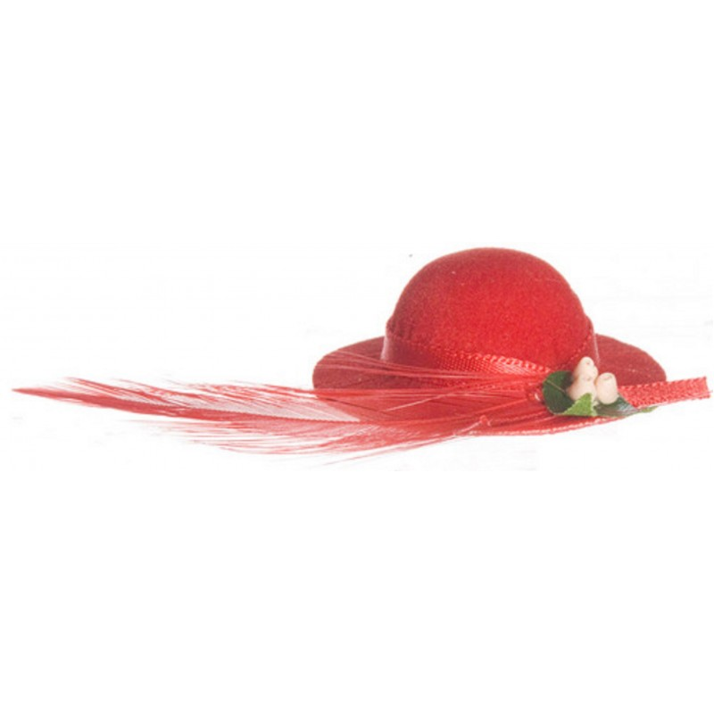 Dolls House Red Lady's Hat with Feather Miniature Milliner Shop Accessory