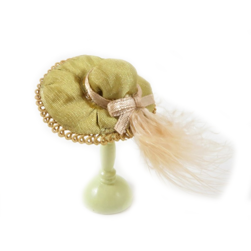 Dolls House Khaki Green Hat with Feather Milliners Shop Lady's Accessory