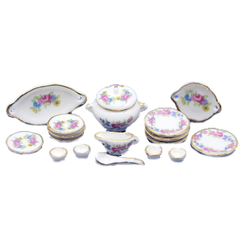 Dolls House Miniature Dining Room Accessory 1:12 Scale Porcelain Dinner Set
