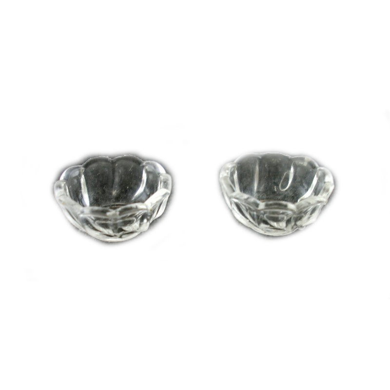Dolls House Miniature Dining Room Accessory 2 Fluted Dessert Bowls Dishes