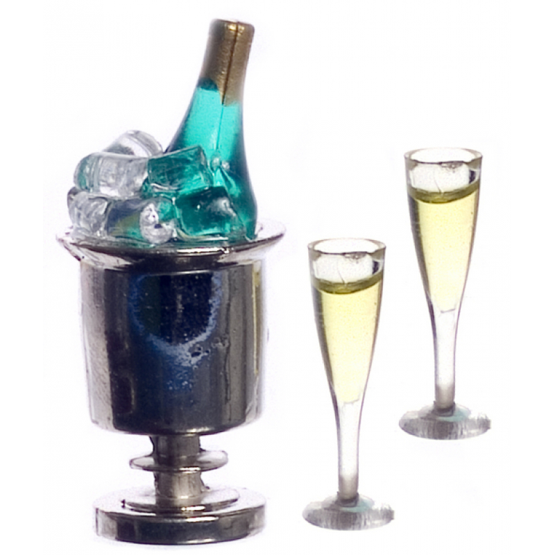 Dolls House Champagne on Ice in Silver Bucket & 2 Full Glasses