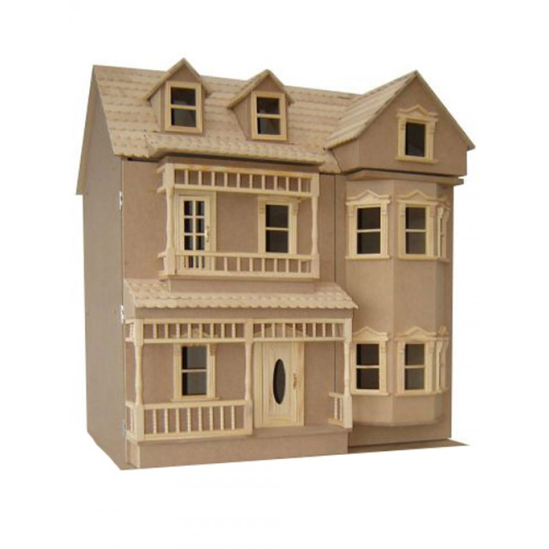 The Exmouth Dolls House Unpainted Flat Pack Kit 1:12 Scale