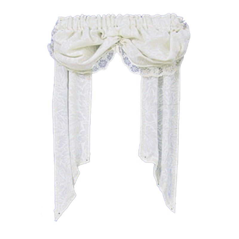 Dolls House Double Balloon Beige Valance Curtains Window Accessory