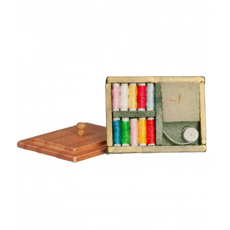 Dolls House Wooden Sewing Box With Thread Miniature Shop Sewing Room Accessory