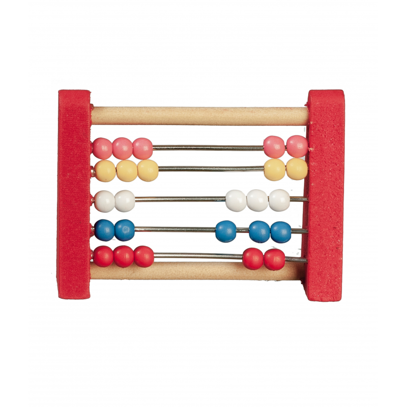 Dolls House Red Abacus Counting Frame Miniature Nursery Toy School Accessory