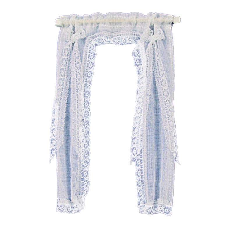 Dolls House Victorian Demi Curtains on Rail White 1:12 Scale Window Accessory