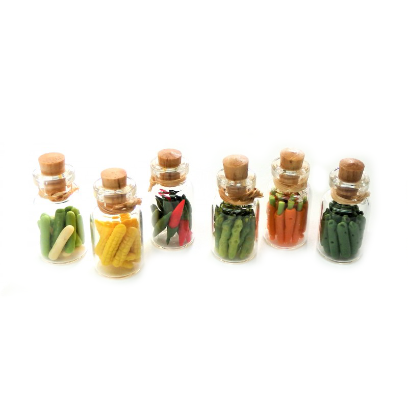 Dolls House 6 Glass Jars of Vegetables Miniature Kitchen Accessory