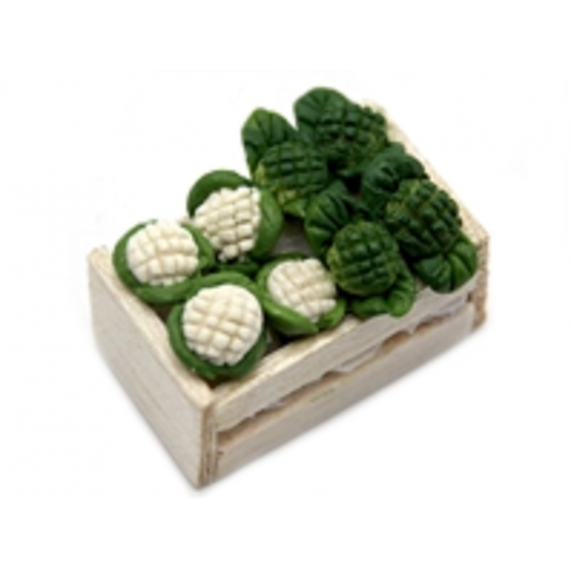 Dolls House Box Crate of Broccoli & Cauliflower Greengrocers Shop Accessory