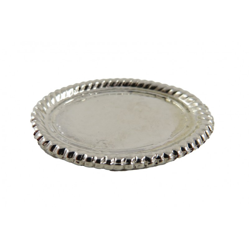 Dolls House Oval Silver Serving Tray Miniature Kitchen Dining Room Accessory