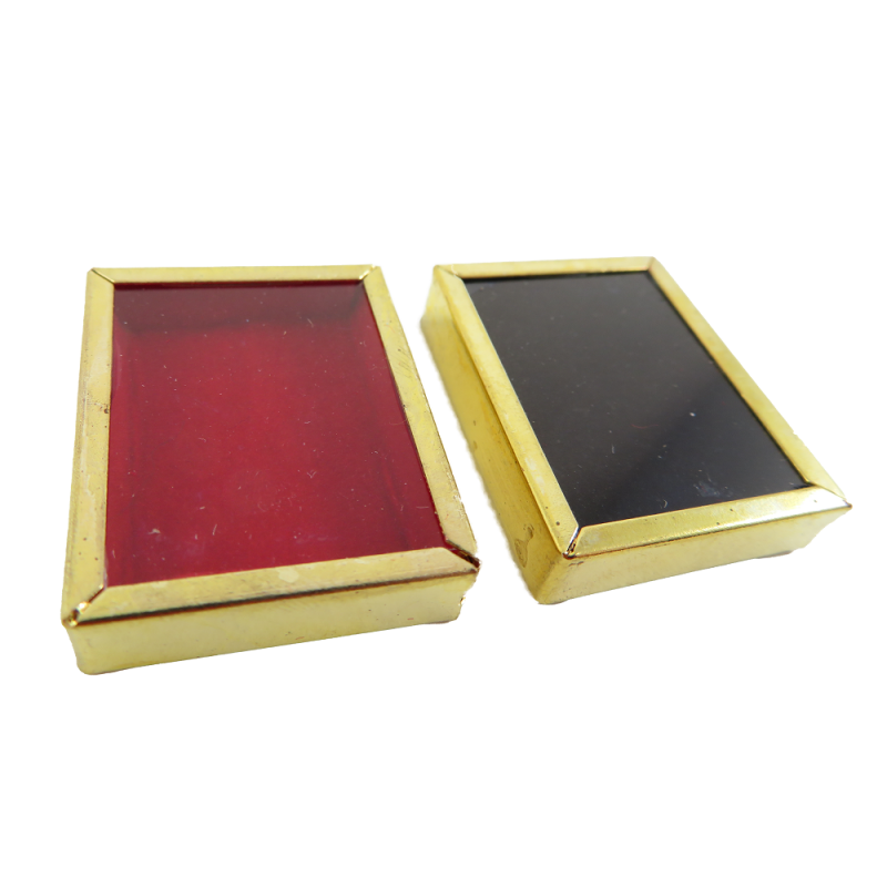 Dolls House 2 Gold Display Box Frames Red and Black Miniature Decor Accessory