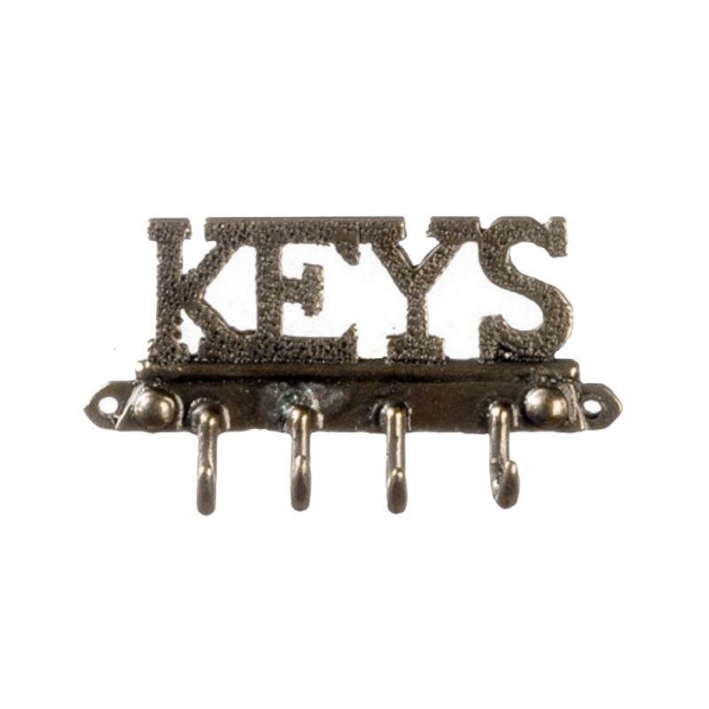 Dolls House Key Rack Antique Brass Wall Hall Kitchen Accessory