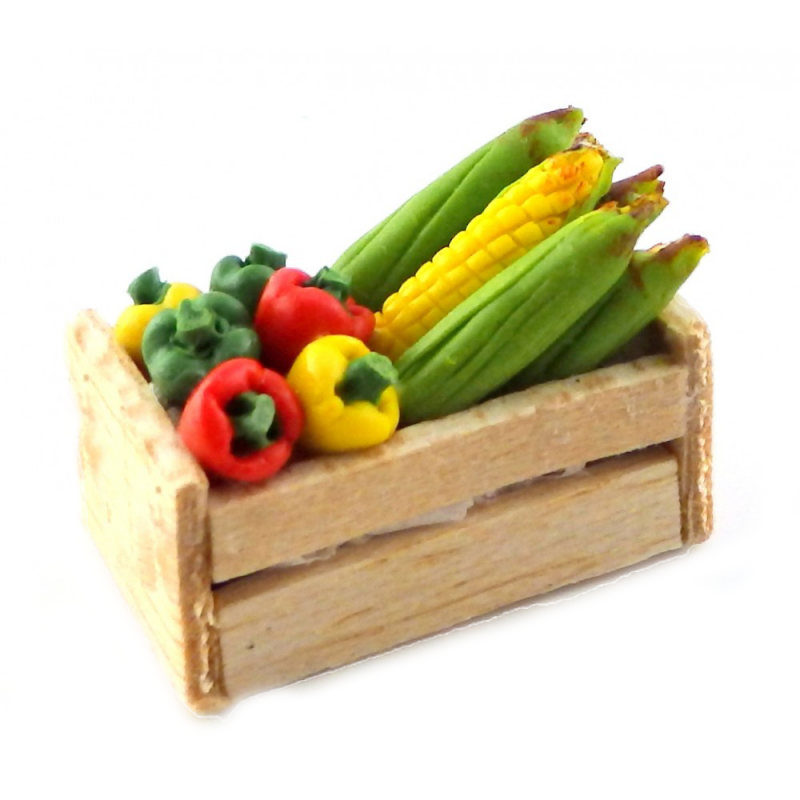 Dolls House Box of Sweet Peppers & Corn on the Cob Shop Store Market Accessory